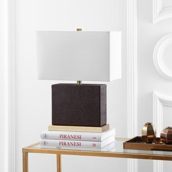 Safavieh Lighting 20.5-inch Delia Faux Snakeskin Brown Table Lamp