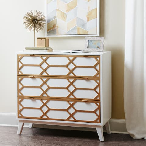Madison Park Gabrielle White Gold Lattice Accent Chest
