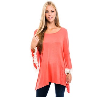 MOA Collection Women's Rayon and Spandex Solid Crochet Trim Top