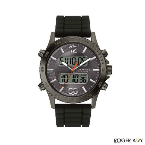 Caravelle New York Watches Mens Digital Chronograph Silicone Band Watch
