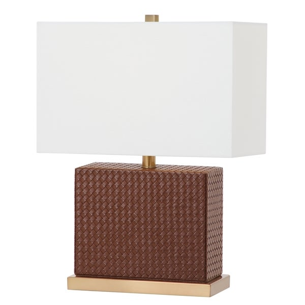 Safavieh Lighting 20.5-inch Delia Faux Woven Leather Brown Table Lamp