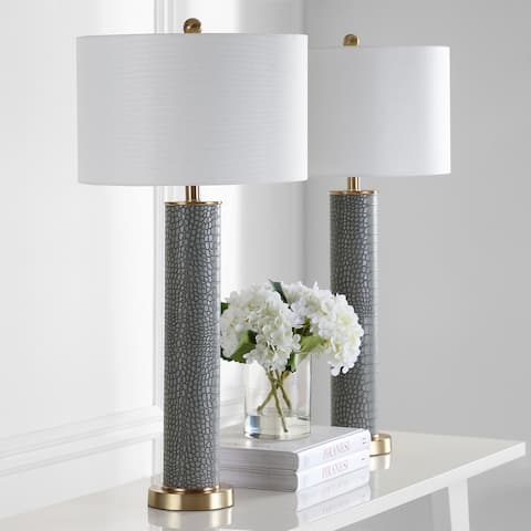 Safavieh Lighting 32-inch Ollie Faux Alligator Grey Table Lamp (Set of 2)