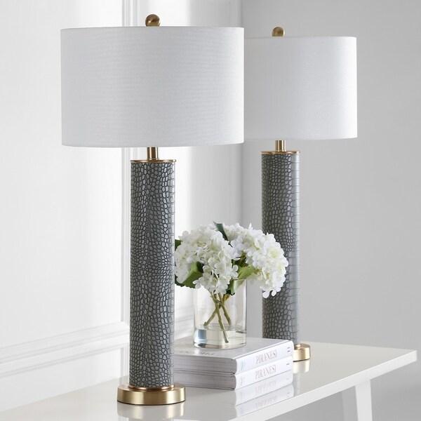 Safavieh Lighting 32 Inch Ollie Faux Alligator Grey Table Lamp (Set Of 2) by Safavieh