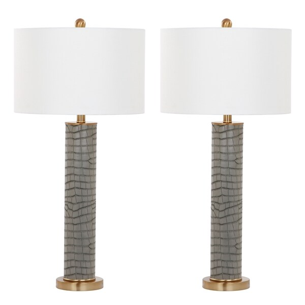 Safavieh Lighting 31.5-inch Ollie Faux Alligator Grey Table Lamp (Set of 2)