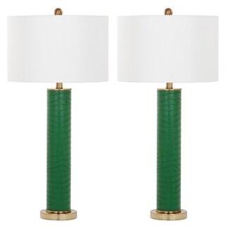 Safavieh Lighting 31.5-inch Ollie Faux Snakeskin Dark Green Table Lamp (Set of 2)