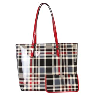 Diophy Plaid Faux Leather 2-piece Large Tote Bag and Wallet Set