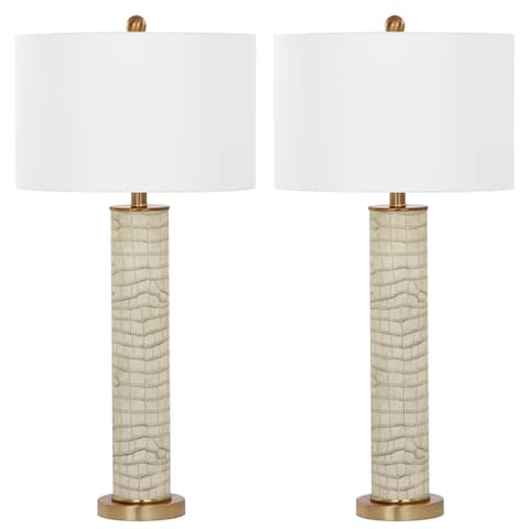 Safavieh Lighting 32-inch Ollie Faux Snakeskin Cream Table Lamp (Set of 2)