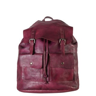 Diophy Double Front Pocket Purple Genuine Leather Drawstring Closure Backpack