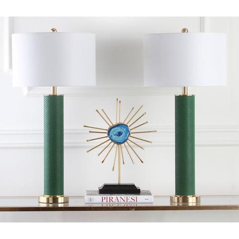 Safavieh Lighting 32-inch Ollie Faux Snakeskin Dark Green Table Lamp (Set of 2)