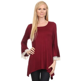MOA Collection Women's Lace-trimmed Trumpet-sleeve Solid Top