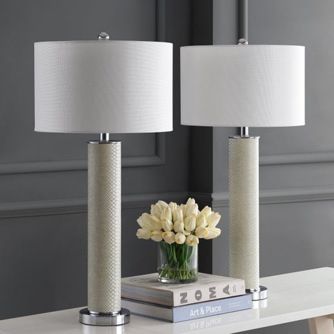 Safavieh Lighting 31.5-inch Ollie Faux Snakeskin Cream Table Lamp (Set of 2)