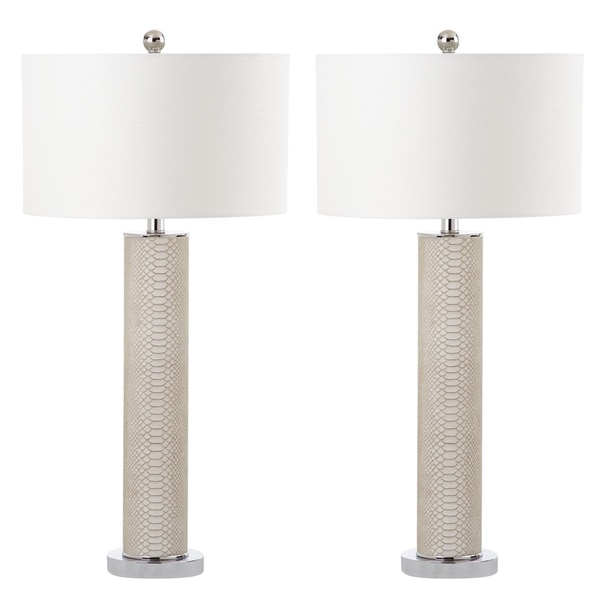 Safavieh Lighting 31.5-inch Ollie Faux Snakeskin Cream Table Lamp (Set of 2)