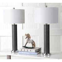 "Safavieh Lighting 31.5-inch Ollie Faux Woven Leather Grey Table Lamp (Set of 2) - 15"" x 15"" x 31.5"""