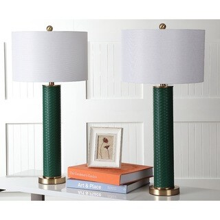 Safavieh Lighting 31.5-inch Ollie Faux Woven Leather Dark Green Table Lamp (Set of 2)