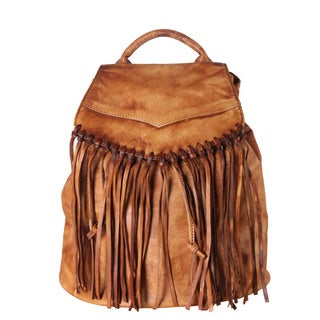 Diophy Genuine Leather Archaic Fringe 3 Ways Use Backpack