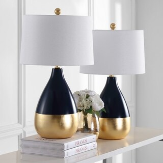 Safavieh Lighting 24-inch Kingship Navy/ Gold Table Lamp (Set of 2)