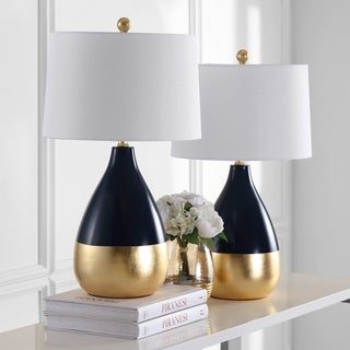 Safavieh Lighting Kingship 24 Inch Navy And Gold Table Lamp (Set Of 2)