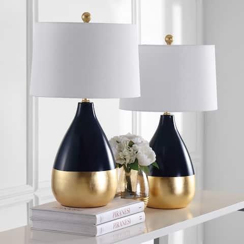 Safavieh Lighting 24-inch Kingship Navy/ Gold Table Lamp (Set of 2)