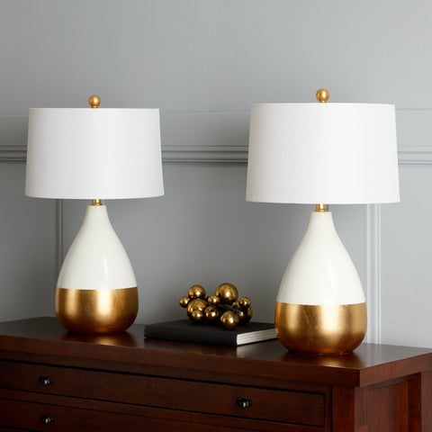 Safavieh Lighting 24-inch Kingship White/ Gold Table Lamp (Set of 2)