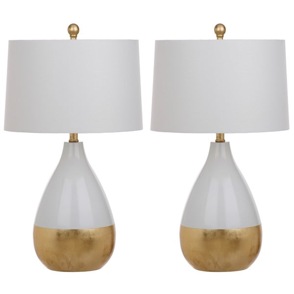 Delightful Safavieh Lighting Kingship 24 Inch White And Gold Table Lamp (Set Of 2)