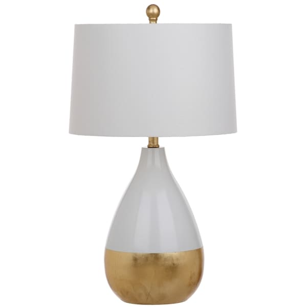 Safavieh Lighting Kingship 24-Inch White And Gold Table Lamp (Set of 2) -  Free Shipping Today - Overstock.com - 20126635 - Safavieh Lighting Kingship 24-Inch White And Gold Table Lamp (Set