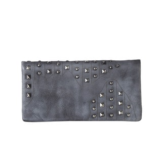Diophy Genuine Leather Studded Long Wallet