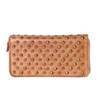 Diophy Brown Genuine Leather Round Zipper Wallet