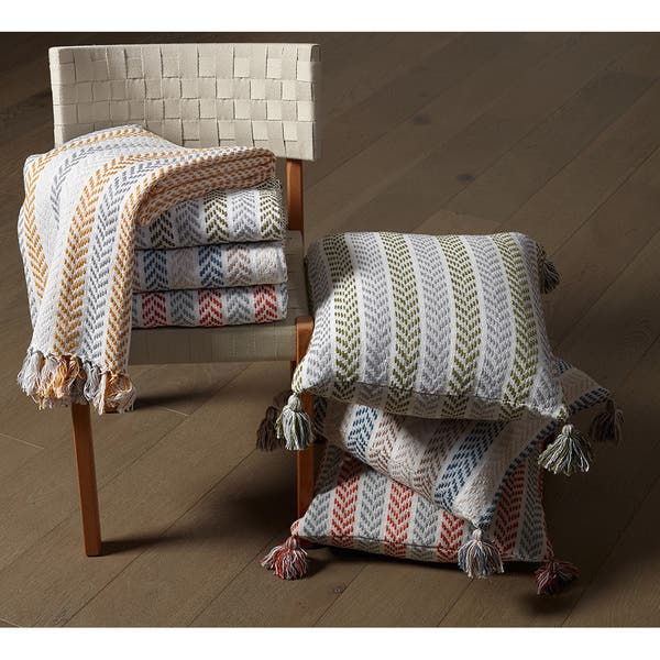 Cool Shop Lr Home Blue Brown Cotton Reversible Chevron Couch Gmtry Best Dining Table And Chair Ideas Images Gmtryco