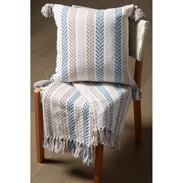 Pleasant Shop Lr Home Blue Brown Cotton Reversible Chevron Couch Gmtry Best Dining Table And Chair Ideas Images Gmtryco