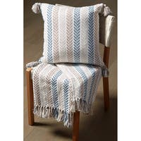 LR Home Blue/Brown Cotton Reversible Chevron Couch Throw Blanket