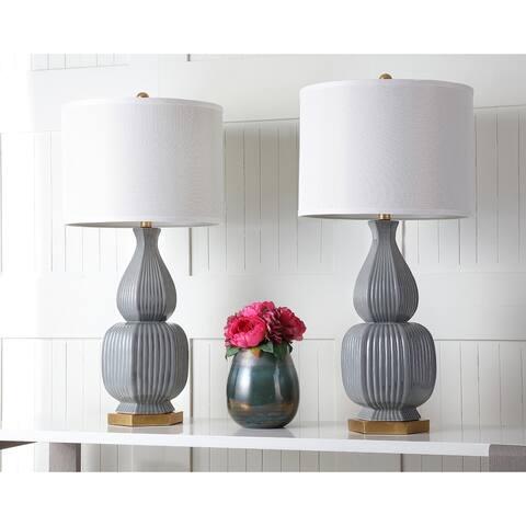 Safavieh Lighting 32-inch Cleo Grey/ Gold Table Lamp (Set of 2)