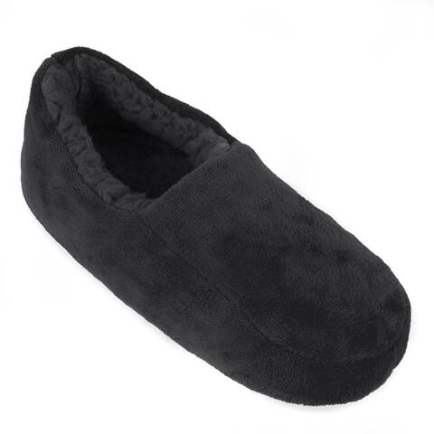 Leisureland Mens Solid Color Fleece Lined Cozy Slippers