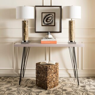 Safavieh Lighting 31.25-inch Sonia Marble Dark Brown/ Chrome Table Lamp (Set of 2)