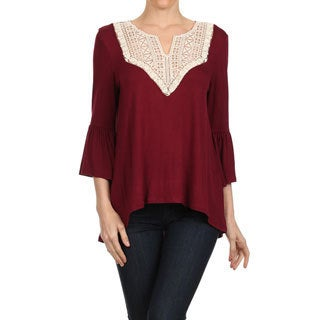MOA Collection Women's Sheer Rayon/Spandex Emboidered Yoke Top