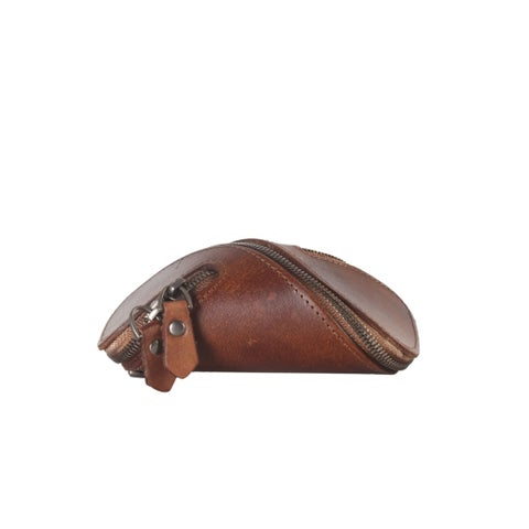 Diophy Brown Leather Small Double Zipper Coin Pouch Wallet