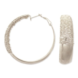 Silver Metal Wide Wire Wrap Post Hoop