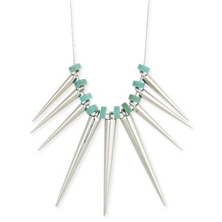 Silvertone Spike and Turquoise Bead Necklace