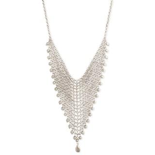 Silver Mesh Triangle Bib Necklace