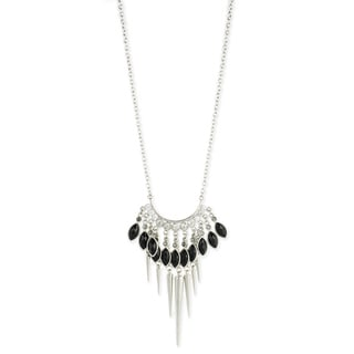 Black Jewel and Spikes Fringe Necklace