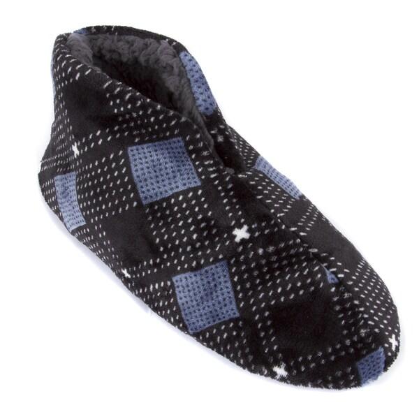 Leisureland Men's Plaid Fleece Lined Cozy Bootie Slippers