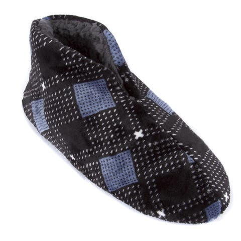 Leisureland Mens Plaid Fleece Lined Cozy Bootie Slippers