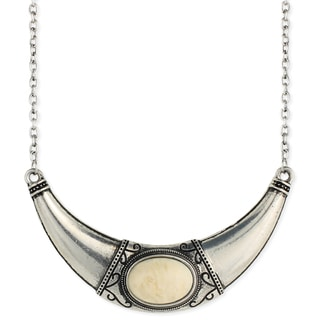 Bold Elements Statement Silvertone Bib Necklace