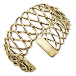 Goldtone Metal Braided Cuff Bracelet