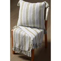 LR Home Chevron Green/Grey Reversible Cotton Couch Throw Blanket