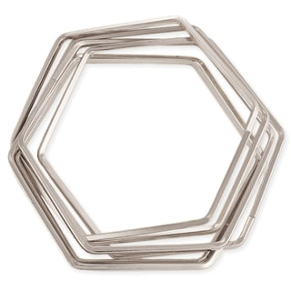 Silvertone Interlocking Hexagon Bangle Set