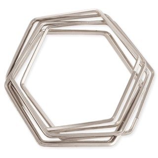 Silvertone Interlocking Hexagon Bangle Set