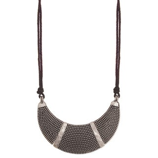 Textured Silvertone Metal Bib Necklace