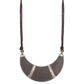 Textured Silvertone Metal Bib Necklace