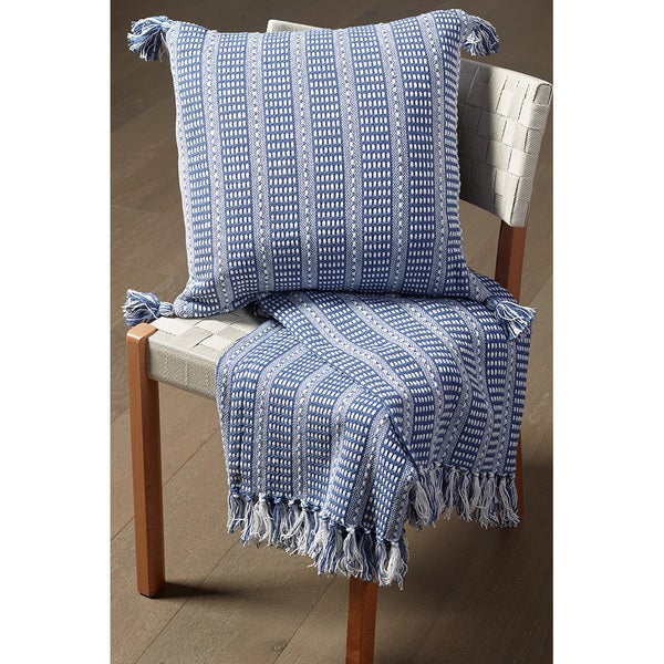 LR Home Blue Cotton Striped Reversible Couch Throw Blanket