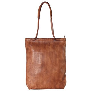 Diophy Brown Genuine Leather Shoulder Tote Bag